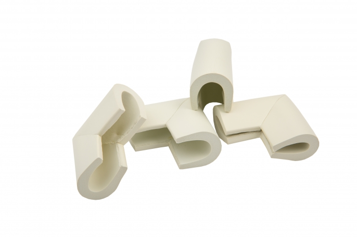 Set 4 coltare in forma U alb, 3.5x0.7x6 cm